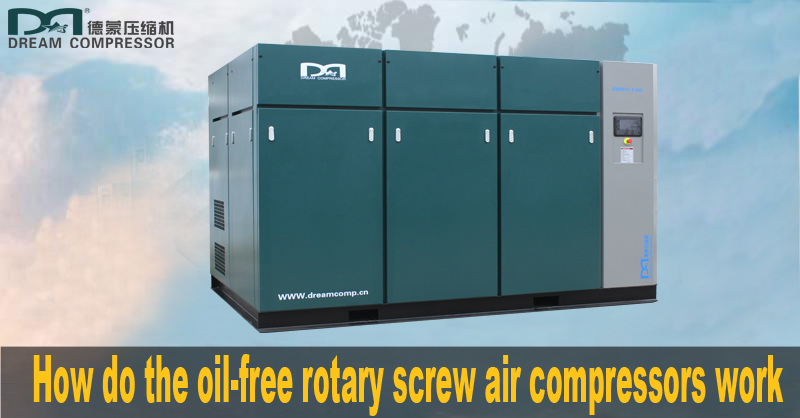 How do the oil-free rotary screw air compressors work