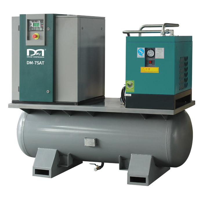 Integrated Screw Air Compressor with Tank and Air Dyer